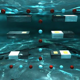 An artistic representation of the new custom silicon microparticles floating in water. Each microparticle is coated or embedded with a different type of electrical component, causing them to assemble and reconfigure multiple times under varying frequencies of AC electric fields. Image: Duke University.