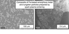 Composite of Fe-based amorphous metal and tungsten particles prepared by spark plasma sintering.