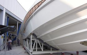The prototype hull of Alen Yachts' Metaphor 68.