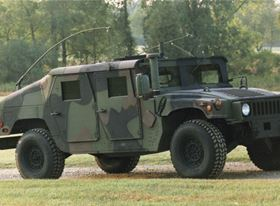 Versatile battlefield Humvees (M1114 shown here) are armoured using A and B kits made from a combination of composites, metals and ceramics. A kits are factory installed; B kits can be field installed to provide mission flexibility. (Source: AM General.)