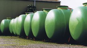 Eight double-wall GRP USTs prior to installation that have been manufactured using DSM's isophthalic polyester resins. (Picture courtesy of DSM.)
