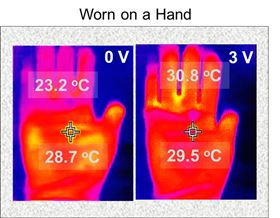 This shows how a three-layered glove with one layer coated with the conducting polymer PEDOT can keep fingers as warm as the palm of the hand. Image: UMass Amherst.
