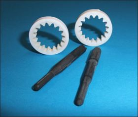 Figure 1. Two-component prototypes of the case study's glow plug and gear wheel.
