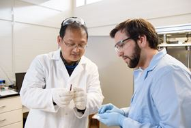 Jian He in his lab at Clemson University. Photo: Clemson University College of Science.