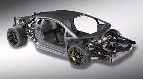 Carbon fibre materials and innovative forming processes demonstrate composite 'body-in-black' components that could eventually replace the traditional metallic body-in-white primary vehicle structure. Shown here, the carbon fibre body shell of the Sesto Elemento, rolling chassis for the Lamborghini Adventador model. (Picture courtesy of Lamborghini.)
