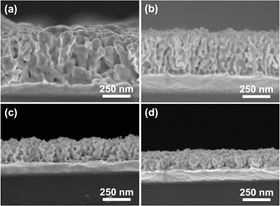 Cross-sectional SEM images of mesoporous bimetallic Au-Ni films obtained from precursor solutions containing different Au:Ni molar ratios: (a) 100:0, (b) 75:25, (c) 50:50, and (d) 25:75 at an applied potential of -0.7?V and temperature of 40 degrees C.