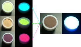 (Left) Channelled aluminophosphate containing various encapsulated dyes emitting in the blue (acridine), green (pyronin Y) and red (LDS 722) regions of the spectrum when illuminated with ultraviolet light. (Right) Channelled aluminophosphates containing several dyes in the correct proportions producing white light when illuminated with ultraviolet light. Images: Rebeca Sola; UPV/EHU.
