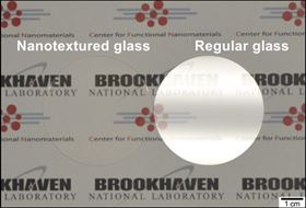 Glass surfaces with etched nanotextures reflect so little light that they become essentially invisible. This effect is seen in the above image, which compares the glare from a conventional piece of glass (right) to that from nanotextured glass (left), which shows no glare at all. Image: Brookhaven National Laboratory.