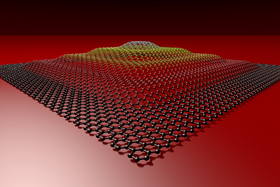 An artist's representation of the 3D graphene pyramid.