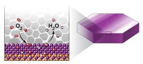 This schematic diagram shows the oxygen reduction reaction (reduction of O2 to H2O) on the Pt(110) surface of the PtPb/Pt nanoplates, with purple representing Pt atoms and orange representing Pb atoms. Image: Brookhaven National Laboratory.