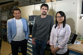 Aditya Mohite (left), Jean-Christophe Blancon (middle) and Wanyi Nie (right) from Los Alamos National Laboratory are part of a team of researchers that have discovered both the cause and a solution for the tendency of perovskite solar cells to degrade in sunlight. Photo: Los Alamos National Laboratory.