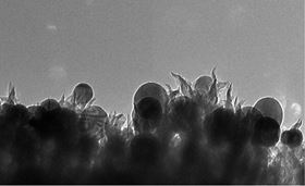 ORNL researchers have developed a catalyst made of copper nanoparticles (seen as spheres) embedded in carbon nanospikes that can convert carbon dioxide into ethanol. Image: ORNL.