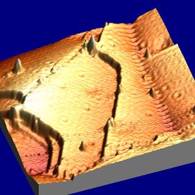 Perspective view ofthe STMtopography ofnanocrystallineCufilmthat shows a valley with dissociated dislocations and a ridge with recombined dislocations. The size of the image is 50 nm by 50 nm. Credit: Xiaopu Zhang.