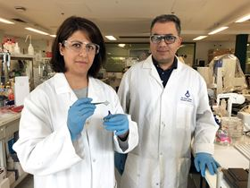 Dorna Esrafilzadeh (left) and Rouhollah Ali Jalili (right) working on a 3D-printed graphene mesh in the lab. Photo: RMIT University.