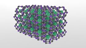This is a molecular model of the newly synthesized carbon-based clathrate, which is comprised of carbon-boron cages that trap strontium atoms. Image: Tim Strobel.