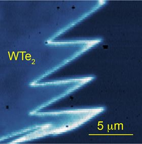 A typical MIM image near the corner of a monolayer tungsten ditelluride flake; the bright zigzag lines indicate conduction features precisely at the edges of the monolayer tungsten ditelluride. Image: Cui lab, UC Riverside.