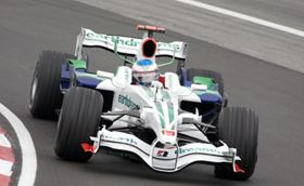 One of Honda Racing's Formula One cars in action.