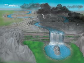 An artist's depiction of a disorder-induced transition to the topological Anderson insulator phase. A river flowing along a straight path is altered by disorder in the underlying landscape. After going through a transition (waterfall), the river forms a closed loop – a shape with a different topology to that of the initially straight path. Image: Lachina Creative, copyright Bryce Gadway, University of Illinois at Urbana-Champaign.
