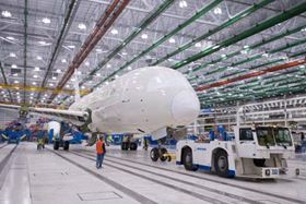 The first South Carolina-built 787 moves to Final Assembly Position 3 early in the morning of 18 December, shortly after achieving 'weight on wheels' for the first time.