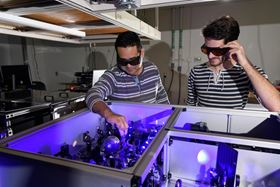 Carlos Silva (left) with graduate research assistant Felix Thouin (right) in Silva's lab at Georgia Tech. Photo: Georgia Tech/Rob Felt.