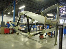 The ORPC tidal turbine in the Hall US factory in Bristol, Rhode Island.