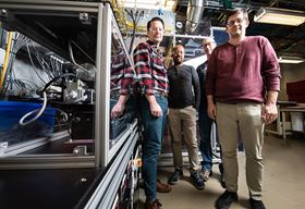(From left to right) NREL researchers Aaron Ptak, Wondwosen Metaferia, David Guiling and Kevin Schulte are growing aluminum-containing materials for III-V solar cells using D-HVPE. Photo: Dennis Schroeder, NREL.
