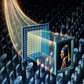 This illustration depicts a faithful reproduction of Johannes Vermeer's 'Girl with a Pearl Earring' produced by millions of nanopillars that control both the color and intensity of incident light. Image: T. Xu/Nanjing University.