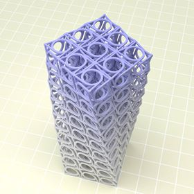 Towers of up to 500 chiral cubic structures can rotate around their axis under load. Achiral structures do not exhibit this behavior. Photo: T. Frenzel/KIT.