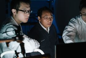Zhifeng Ren (center), director of the Texas Center for Superconductivity at the University of Houston, led a project to resolve the problem of asymmetrical thermoelectric performance. Photo: University of Houston.