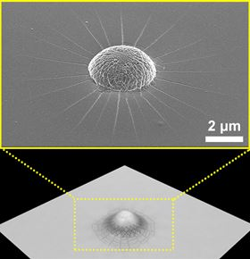 (Top) Scanning electron micrograph image of the crazed mound formed when a projectile is arrested by a polystyrene thin film and (bottom) a corresponding schematic.