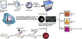 Schematic of the preparation of hollow mesoporous carbon spheres and drug loading for cancer therapy induced by laser irradiation and assisted by microwave irradiation.