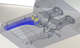 SMU used Simulayt's Composites Modeler to simulate the draping of woven fabric reinforcement over the mould surface. Blue or yellow indicates that the material has to shear to an acceptable extent to conform to the curved surface. The flat pattern is shown alongside the draped fibre orientations as a further check of the manufacturability of a ply.
