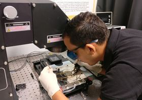 Taha Ayari from Georgia Tech Lorraine measures the photovoltaic performances of the InGaN solar cells with a solar simulator. Photo: Ougazzaden laboratory, Georgia Tech.
