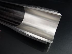 Teufelberger will exhibit various applications of its metal-composite connector T-IGEL, including this high-performance braided CFRP drive shaft.