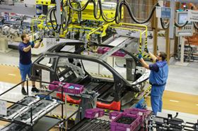 Assembly of the BMW i3 in Leipzig.