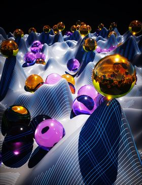 A visualization of how the charge carriers (purple spheres) accumulate in the disordered perovskite structures. Image: Ella Maru Studio.