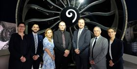 From left to right: Marie-Christine Hay, Safran, Patrick Sibieta, Christine Limat-Chanal and Cyrille Chanal, FusiA AeroAdditive, Neil Siddons, Alain Mages and Myrtille Comte, REPMO, (GE Additive's sales partner for France).
