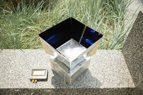 A photo of the novel cooling system, which absorbs heat from the air inside the box and transmits that energy through the Earth's atmosphere into outer space. Photo: University at Buffalo.