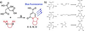 Figure 3. (a) Formation of fluorescent 2-pyridones from CA and amines. Reprinted with permission from Ref. [45], copyright 2015 Royal Society of Chemistry. (b) The potential fluorophore in CA-based CNDs, the R can be small molecular groups or polymer chains. Reprinted with permission from Ref. [39], copyright 2015 Royal Society of Chemistry.