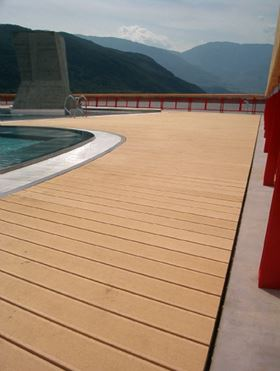 Tech-Wood WPC decking, reinforced with oriented long fibres, is said to provide high bending stiffness and strength.