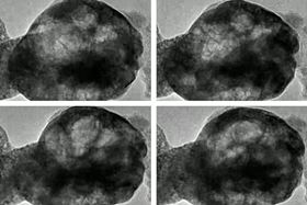 These images, taken from a transmission electron microscope, show a perovskite material oscillating as it is exposed to water vapor and a beam of electrons. Image courtesy of the researchers.