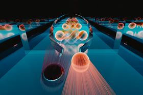 In Klein tunneling, a negatively charged electron (brightly colored sphere) can transit perfectly through a barrier. In a new experiment, researchers observed the Klein tunneling of electrons into a special kind of superconductor. As electrons tunneled through the barrier, they each picked up a partner, doubling the conductance measured in the experiment. To balance out the extra negatively charged electron, a positively charged hole (dark sphere) is reflected back from the barrier – a process known as Andreev reflection. Image: Emily Edwards/Joint Quantum Institute.