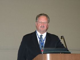 Ray Lucas, president of Valley Chrome Plating, Clovis, Calif., makes remarks during his acceptance of the Silvio Taormina Award at SUR/FIN 2010 in Grand Rapids, Mich.