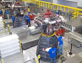 Three RS-25 engines at Aerojet Rocketdyne's facility in Mississippi.