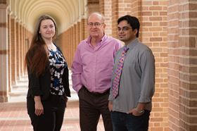 Rice University researchers (from left) Ksenia Bets, Boris Yakobson and Nitant Gupta have simulated the growth of 2D monocrystals of hexagonal boron nitride and detailed the mechanism by which large crystals form on a stepped surface. Photo: Jeff Fitlow/Rice University.