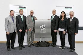 From right to left Eugen and Juliane Hehl, managing partners, Stephan Doehler, European director sales, Colin Tirel, MD, Gerhard Böhm, managing director sales, and Frank Davis, former subsidiary manager.