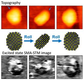 This shows a conventional scanning tunneling microscope image of a quantum dot (top), compared with an image produced using the new excited-state SMA-STM technique (bottom). Image: Martin Gruebele.