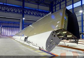 The wing for Airbus' A350 XWB has been delivered to the aircraft's assembly line in Toulouse, where it will be equipped on an airframe for ground-based structural tests. (Picture © Airbus.)