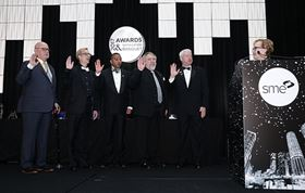 Pictured left to right: 2018 SME International Directors Ralph Resnick, Mark Michalski, Winston Erevelles, Dean Phillips and Jim Schlusemann are sworn in by 2017 SME President Sandra Bouckley. Not pictured: Susan Smyth.