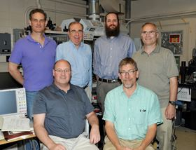 The NRL research team. Back row (left to right): research physicists Aubrey Hanbicki, Paul Campbell, Adam Friedman and Jim Culbertson. Seated front (left to right): Glenn Jernigan, research chemist, and Keith Perkins, electronics research engineer. Photo: US Naval Research Laboratory/Gayle Fullerton.